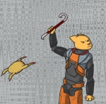 2011 crossover crowbar feline female gordon_freeman half-life headcrab katia_managan khajiit noxid prequel the_elder_scrolls the_elder_scrolls_iv:_oblivion video_games weapon   Rating: Safe  Score: 1  User: ktkr  Date: December 22, 2011