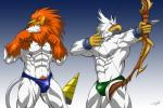 abs anthro archer avian beak biceps big_muscles bird black_nose bow bulge canine chaotic claws clothed clothing digimon dorulumon duo durulumon eagle fangs fanservice feathers frafdo fur green_eyes half-dressed helmet male mammal muscular muscular_male nipples overworlder_(species) pecs pubes speedo standing swimsuit symbolhero teeth toned topless warrior weapon white_body wolf yellow_eyes  Rating: Questionable Score: 3 User: artwolfie Date: April 29, 2015