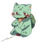 after_masturbation blush bulbasaur cum digital_media_(artwork) erection flora_fauna konbu male nintendo nude penis plant pokémon red_eyes sitting solo tongue video_games