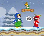 2012 ambiguous_gender annoyed arin_hanson avian bird block checkered dialogue disneygurl english_text fursuit game_grumps group hand_on_hip hat helmet hi_res jon_jafari koopa koopa_troopa luigi male mario mario_bros nintendo open_mouth outside overalls parody penguin pine_tree platformer propeller propeller_hat reptile scalie sky snow snowing text the_truth tongue tree turtle video_games white_gloves winter  Rating: Safe Score: 3 User: slyroon Date: April 22, 2013""