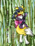 2008 anthro bamboo barefoot black_hair blue_eyes canine claws clothed clothing digimon english_text fan_character fox fur hair long_hair mammal markings ninja renamon risori solo text tigerlilylucky toe_claws tuft white_fur yellow_fur  Rating: Safe Score: 0 User: GameManiac Date: September 23, 2015