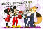 2017 anthro canine clothed clothing disney female fox fur green_eyes group judy_hopps lagomorph low_res male mammal mickey_mouse minnie_mouse miroukitsu mouse nick_wilde police_uniform purple_eyes rabbit rodent simple_background size_difference smile text uniform zootopiaRating: SafeScore: 11User: Kario-xiDate: November 18, 2017