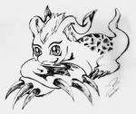 claws digimon fangs feral fur gomamon greyscale hair inkbrush_style long_ears looking_at_viewer male mammal markings mohawk monochrome natticus_the_gomamon ravefirell seal simple_background sketch solo traditional_media_(artwork)  Rating: Safe Score: 0 User: Tarukaja Date: July 29, 2015