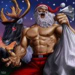 2009 amazing antlers bag cervine christmas clothed clothing feral half-dressed hat holidays horn human male mammal muscles night red_eyes reindeer santa_claus santa_hat star taku topless  Rating: Safe Score: 32 User: ktkr Date: July 08, 2011""