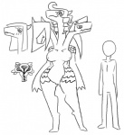 2017 3_heads anthro blush breasts conjoined dew digital_media_(artwork) dragon duo female haii hair_covering_eyes humanoid internal la looking_at_viewer minus8 multi_head nipples nude pussy simple_background size_chart sketch solo_focus standing uterus white_background