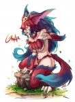 2014 alternate_species big_breasts blue_fur breasts claws clothing crossgender crouching english_text fangs female fur gnar_(lol) hair hi_res humanoid humanoidized league_of_legends mammal mega_gnar_(lol) multicolored_fur navel open_mouth outside red_fur red_hair riot_games simple_background solo sueyen_(artist) teeth text toe_claws tongue tusks under_boob video_games white_background yordle
