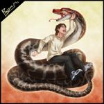 abstract_background brown_hair coiling eyes_closed hair human laugh male mammal plussun reptile scalie simple_background snake teeth tongue tongue_out white_shirt  Rating: Safe Score: 7 User: h4x0r Date: July 20, 2015