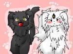 :d ambiguous_gender anthro black_fur blush caramelldansen cat duo fangs feline fluffy fur heterochromia koishi_chikasa mammal navel open_mouth sweat sweatdrop third_eye whiskers white_fur yellow_eyes  Rating: Questionable Score: 0 User: Kitsu~ Date: July 10, 2009