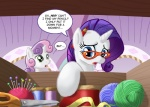 blue_eyes cub dialogue english_text equine eyewear female feral friendship_is_magic fur glasses green_eyes hair horn mammal muffinshire my_little_pony purple_hair rarity_(mlp) scissors sweetie_belle_(mlp) text unicorn white_fur young   Rating: Safe  Score: 9  User: gfjkbdgfbg459yu4  Date: August 27, 2012