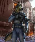 anthro armor assault_rifle black_nose building canine clothed clothing detailed_background dog fur german_shepherd green_eyes gun hi_res male mammal open_mouth outside portrait ranged_weapon rifle sharp_teeth sky solo teeth three-quarter_portrait vallhund weapon  Rating: Safe Score: 8 User: HotUnderTheCollar Date: April 22, 2016