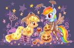 applejack_(mlp) blonde_hair blue_fur bow clothing costume cowboy_hat cutie_mark duo earth_pony equine female feral freckles friendship_is_magic fur green_eyes hair halloween hat holidays horse igriega13 jack_o'_lantern legwear long_hair mammal multicolored_hair my_little_pony open_mouth orange_fur pegasus pony pumpkin rainbow_dash_(mlp) smile stockings wings  Rating: Safe Score: 7 User: Deatron Date: January 15, 2014