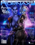 alien asari barcode bloodfart bottle breasts butt chaps claws cover female female/female fornax hand_on_butt helmet humanoid looking_at_viewer magazine magazine_cover mass_effect nipples quarian side_boob standing suit video_games  Rating: Explicit Score: 9 User: Marine Date: April 01, 2013