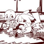 2015 ambiguous_gender cub drink hiding house inside kinbancha_(artist) male mammal monochrome nintendo nintendo_64 pichu pikachu pokémon rodent scared squirtle tatami video_games young  Rating: Safe Score: 1 User: satoshi666 Date: October 07, 2015
