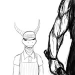 1:1 activision anthro clothing comic dragon furgonomics hat headgear headwear hi_res hladilnik horn konami male monochrome muscular muscular_male offscreen_character pyramid_head silent_hill simple_background sketch spyro spyro_the_dragon subway_(restaurant) video_games white_background