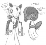 blush duo english_text female froslass gardevoir humanoid monochrome nintendo pokémon text unknown_artist video_games  Rating: Safe Score: 3 User: Juni221 Date: August 20, 2013""