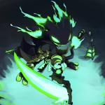 2015 3_fingers anthro fizz_(lol) glowing glowing_eyes green_eyes keys lantern league_of_legends manmosu_marimo melee_weapon polearm scythe spectre standing thresh undead video_games weapon  Rating: Safe Score: 14 User: DelurC Date: May 23, 2016