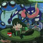 absurd_res asui_tsuyu belt greninja hi_res human kunai mammal my_hero_academia nintendo pokéball pokémon pokémon_(species) poliwag seismitoad tongue video_games water weapon zeaw90