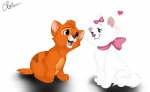 <3 blue_eyes bow cat crossover cub cute disney duo eyelashes feline female fur male mammal marie oliver oliver_and_company orange_fur sitting svetapalkina the_aristocats white_fur young  Rating: Safe Score: 4 User: CloverTheRabbit Date: July 31, 2015