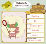animal_crossing anthro avian beak bird blush bow brown_eyes butterfly_net clothing dress english_text female looking_at_viewer nintendo pokémon smile solo text twifeather video_games whimsicott   Rating: Safe  Score: 2  User: Deatron  Date: November 10, 2013