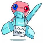 ambiguous_gender animated dogshaming epilepsy_warning feral humor lol_comments low_res meme nintendo pokémon pokéshaming porygon seizure simple_background slugbox solo video_games white_background