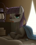 2014 awake blanket blue_eyes clothed clothing equine eyeshadow female feral friendship_is_magic hair horse john_joseco lantern looking_at_viewer lying makeup mammal maud_pie_(mlp) my_little_pony one_eye_closed open_mouth pony purple_hair rock solo   Rating: Safe  Score: 20  User: 2DUK  Date: March 15, 2014