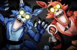 animatronic anthro black_nose canine creepy duo eye_patch eyewear fan_character five_nights_at_freddy's fox foxy_(fnaf) foxyofthepiratecove glowing glowing_eyes hook kotiyo machine male mammal robot teeth video_games yellow_eyes  Rating: Safe Score: 3 User: Vallizo Date: April 05, 2015