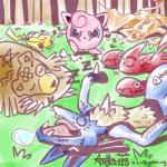 absurd_res anthro artemis_(artist) arthropod blue_eyes body_writing canine charizard dragon face_drawing group hi_res insect jigglypuff lucario mammal marker membranous_wings nintendo pikachu pokémon pokémon_(species) rodent scizor sleeping sound_effects ursaring video_games waddling_head wings zzz