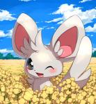 blush cute feral fur grey_fur happy looking_at_viewer mako_mickt minccino nintendo one_eye_closed pokémon smile solo video_games wink