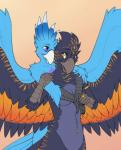amber_eyes anthro avian beak blue_feathers breasts catwolf duo female jewelry navel piercing purple_eyes wings   Rating: Questionable  Score: 20  User: keelo  Date: November 29, 2013