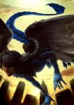 2011 anthro avian city cityscape claws clothing dragon feathers flying hair horn human hybrid jotaku low-angle_shot male mammal scalie solo wings yellow_eyes   Rating: Safe  Score: 1  User: Knotty_Curls  Date: May 13, 2015