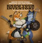 ! 2014 ? ?! anthro armello big_breasts breast_expansion breasts canine cleavage clothed clothing duo english_text female fox holding holding_weapon huge_breasts male mammal shield sword text thane weapon wolf wolfjedisamuel   Rating: Questionable  Score: 30  User: Robinebra  Date: April 30, 2014