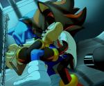 anal black_fur blue_fur clothing cuffs_(disambiguation) cum duo feet fellatio fur half-closed_eyes hi_res legwear male male/male oral penis prison sex shadow_the_hedgehog skyeprower socks sonic_(series) sonic_the_hedgehog  Rating: Explicit Score: 4 User: RandomGuyHere Date: December 31, 2015