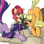 apple_bloom_(mlp) applejack_(mlp) ball_lick balls blonde_hair blush butt cub cum earth_pony equine fellatio female feral freckles friendship_is_magic fur green_eyes group hair horn horse licking male male/female mammal multicolored_hair my_little_pony oral orange_eyes penis pony purple_eyes purple_fur purple_hair red_hair sex sibling sisters source_request teamwork tongue tongue_out twilight_sparkle_(mlp) two_tone_hair unicorn unknown_artist white_hair young  Rating: Explicit Score: 25 User: Latios69 Date: October 04, 2011
