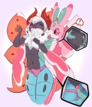 ! 2017 antennae anthro anthrofied arthropod blush breasts butt clothing dickgirl dickgirl/male duo elpatrixf erection fondling girly hair hot_dogging insect intersex intersex/male lurantis male mane moth multi_wing navel nintendo nipples one_eye_closed penis pokémon pokémorph simple_background small_breasts spotted_body underwear video_games volcarona wide_hips wings