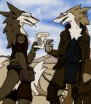 2015 anthro belt brown_fur cigarette claws clothing crossbow day desert duo face_paint fur grey_eyes jacket knee_pads luismcderp_(artist) mountain outside paper poster pouch ranged_weapon sergal smoking standing weapon white_fur  Rating: Safe Score: 3 User: 2Joey4U Date: August 22, 2015