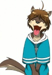 ^_^ animated canine clothing cute eyes_closed happy male mammal morenatsu open_mouth plain_background shirt shun smile solo tailwag white_background wolf   Rating: Safe  Score: 37  User: vultaire  Date: April 29, 2012