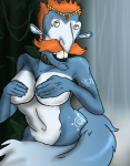 anthro big_breasts blue_fur blue_hair breasts canine convenient_censorship covering covering_breasts covering_self female fox fur hair humor krystal lol_comments mammal meme nickelodeon nigel_thornberry nightmare_fuel nintendo parody smashing_(meme) solo star_fox tail_censorship the_wild_thornberrys toony unknown_artist video_games what what_has_science_done white_fur