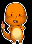 alpha_channel ambiguous_gender charmander chibi edit fire flaming_tail full-length_portrait humor looking_at_viewer low_res nintendo orange_skin pokémon pokémon_(species) portrait reptile scalie simple_background solo transparent_background unknown_artist video_games