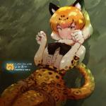 5_fingers absolute_territory alternate_version_at_source animal_humanoid armwear blonde_hair breasts clothing elbow_gloves eyebrows eyelashes feline female fur_collar gloves green_eyes hair hi_res humanoid jaguar_(kemono_friends) jaguar_humanoid japanese_text kemono_friends legwear mammal mityubi multicolored_eyes paw_pose ribbons shirt skirt small_breasts smile solo spots spotted_tail text thigh_highs translated yellow_eyes