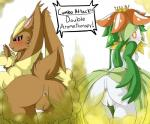 anthro anus big_butt butt duo english_text fart female flora_fauna fur gas human lagomorph lilligant lopunny mammal mustard_gas nintendo plant pokémon rabbit red_eyes text video_games   Rating: Explicit  Score: -2  User: fulldiapers  Date: October 07, 2014