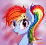 <3 ? dialogue elzzombie english_text equine female friendship_is_magic hair horse mammal multicolored_hair my_little_pony pony ponytail portrait purple_eyes rainbow_dash_(mlp) rainbow_hair solo textRating: SafeScore: 0User: 2DUKDate: January 21, 2018