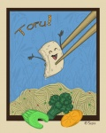 abstract_background ambiguous_gender animate_inanimate border broccoli carrot celery chopsticks digital_media_(artwork) eating food food_creature happy noodles not_furry open_mouth sepia_(artist) simple_background solo text tofu vegetable