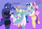 2015 blue_eyes blush caroo clothing crown dialogue english_text equine female foot_fetish friendship_is_magic gloves glowing gold_(metal) group horn husband_and_wife levitation magic male mammal my_little_pony princess_cadance_(mlp) princess_celestia_(mlp) princess_luna_(mlp) purple_eyes shining_armor_(mlp) sibling sisters sparkles sweat text tickling unicorn winged_unicorn wings  Rating: Safe Score: 5 User: 2DUK Date: May 26, 2015""