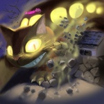 cat catbus creepy feline ghibli glowing glowing_eyes grin macro my_neighbor_totoro o.o smile totoro unknown_artist what   Rating: Safe  Score: 14  User: PineClaw  Date: February 21, 2009