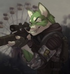 5_fingers aiming anthro backpack black_nose camo canine chernobyl clothing cyrillic_text detailed_background eyebrows fingerless_gloves fur gloves green_eyes green_fur gun holding_object holding_weapon koul male mammal monolith_(faction) one_eye_closed ranged_weapon respirator s.t.a.l.k.e.r. smile solo teeth text trigger_discipline video_games weapon white_fur wolf