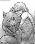 2013 abs anthro big_muscles black_and_white canine claws couple cute duo fangs fur hug human kyoht_luterman male mammal monochrome muscles nude pecs scar size_difference smile teeth toned were werewolf   Rating: Safe  Score: 10  User: Vanzilen  Date: May 15, 2015