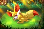 2017 absurd_res butt canine dipstick_tail fangs female fennekin feral forest fox fur grass half-closed_eyes hi_res humanoid_pussy inner_ear_fluff mammal multicolored_tail nightangeltdc_(artist) nintendo nude open_mouth outside pawpads pink_pawpads pokémon pussy raised_leg red_eyes red_fur smile solo tongue tongue_out tree video_games white_fur yellow_fur