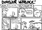 2007 ambiguous_gender comic dinosaur english_text feral human humor magic_user male mammal monochrome nedroid scalie simple_background speech_bubble text theropod time_travel tyrannosaurus_rex webcomic what white_background  Rating: Safe Score: 3 User: ignaciouspop Date: April 22, 2011