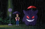 "animated bus_stop crossover gengar ghibli grin male my_neighbor_totoro nintendo pokémon raining red_(character) umbrella video_games waiting water  Rating: Safe Score: 18 User: cookiekangaroo Date: April 01, 2012"""