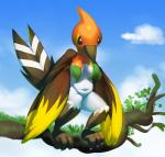 2014 anthro anthrofied avian big_breasts bird branch breasts censored chubby cleavage clothed clothing cloud convenient_censorship elpatrixf female fletchinder front_view nintendo non-mammal_breasts nude on_branch outside pokémon realistic_wings solo standing video_games wings   Rating: Questionable  Score: 4  User: DeltaFlame  Date: December 17, 2014